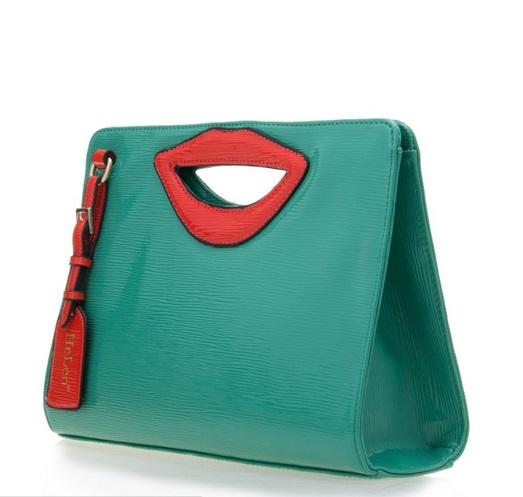 bolsa de mao couro envernizado verde boca vermelha
