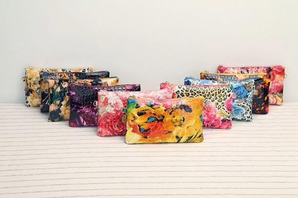 bolsas de mao de couro vinil coloridas florais transpassadas