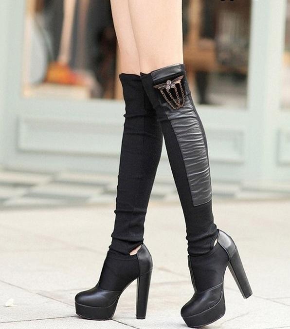 meias-botas de couro ecologico com la femininas alta qualidade acorrente com pedras