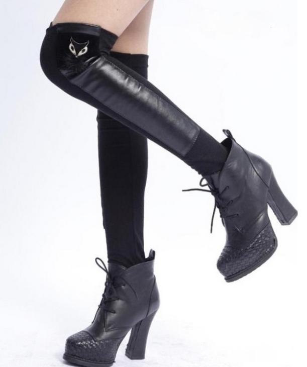 meias-botas de couro ecologico com la femininas alta qualidade animal raposa