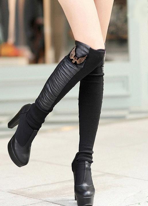 meias-botas de couro ecologico com la femininas alta qualidade asa de anjo