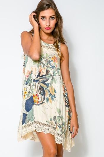 vestido floral bordado print natureza