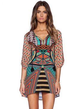 vestido etnico tribal verdemEia manga viscose-