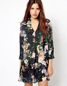 vestido floral preto vintage-