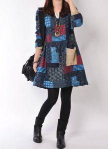 vestido vintage retalhos etnico geometrico azul marinho vinho-