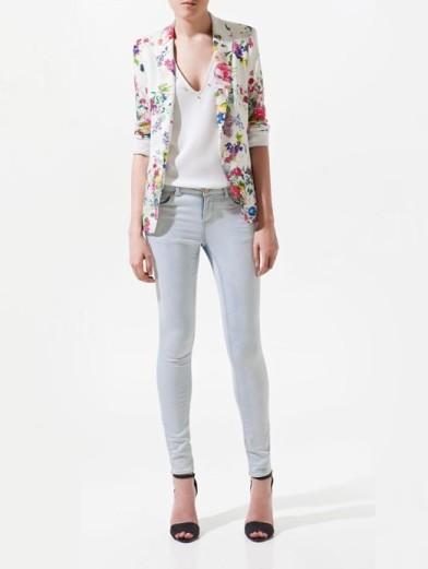 blazer branco floral de botao alta qualidade