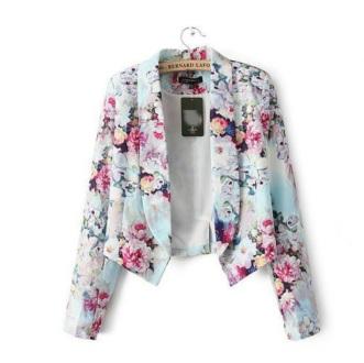 blazer floral curto