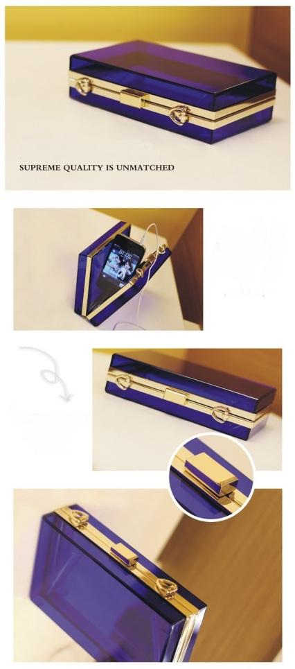 bolsa clutch de acrilico transparente azul 2