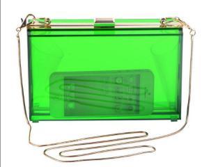 clutch de acrilico transparente verde __