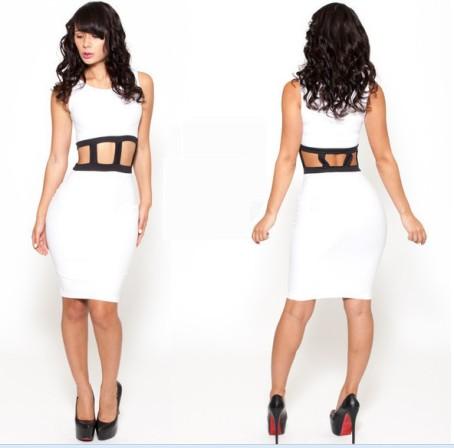 vestido branco fenda cintura sexy
