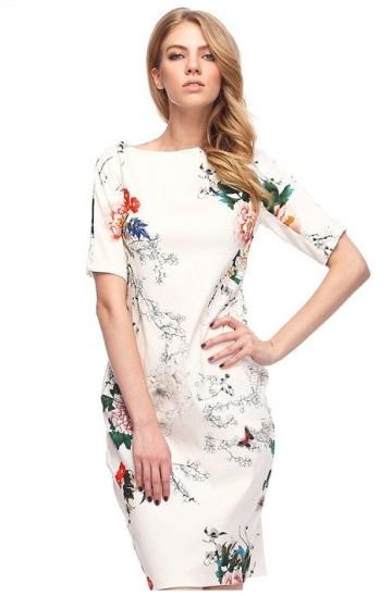 vestido branco floral vintage midi