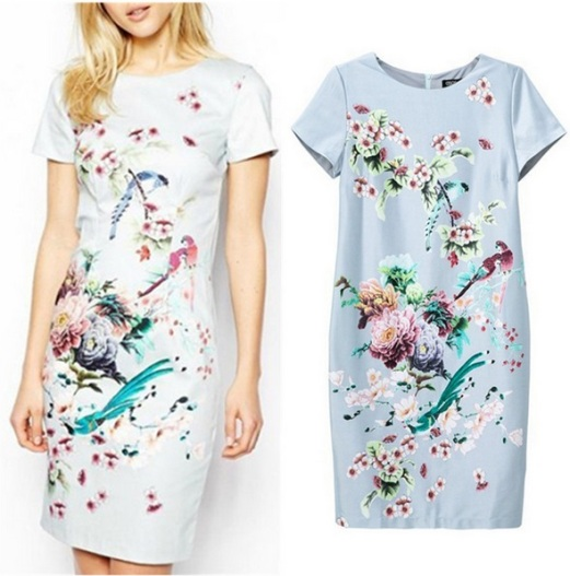 vestido fino acabamento floral