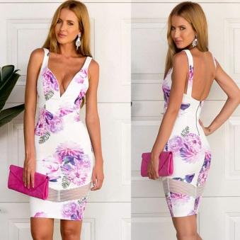 vestido coquetel branco floral decote v1