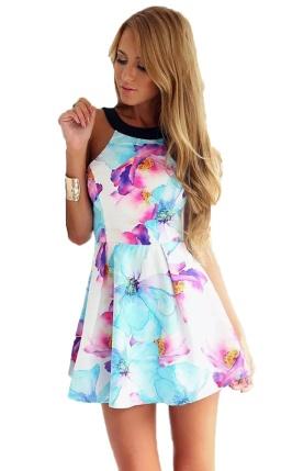 vestido curto floral azul - Copia