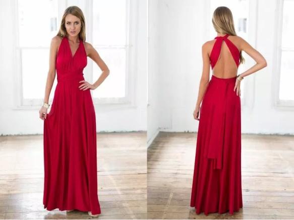 vestido longo de festa de chiffon vermelho