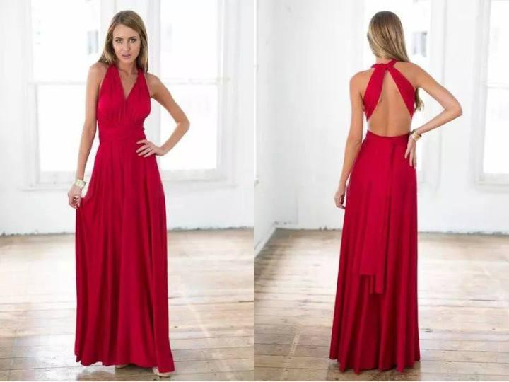 Vestido Longo de Festa vermelho costas abertas