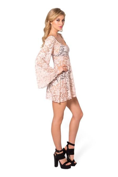 blusa bata vestido de renda bege
