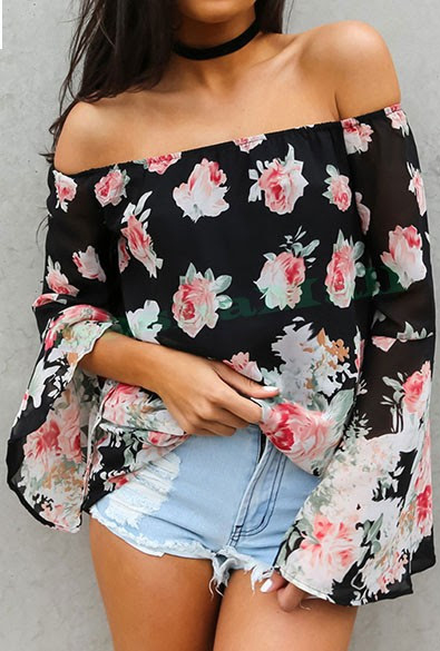 blusa floral manga flare tomara que caia preta