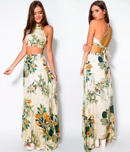 cropped top com saia longa floral frete unica estampados