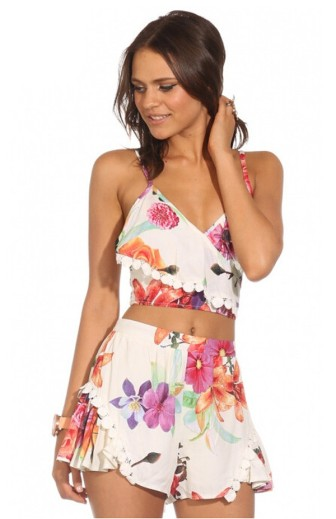 cropped top short floral branco