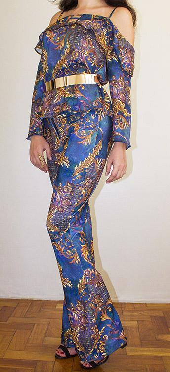 conjunto calça flare com blusa ciganinha estampa royal 1
