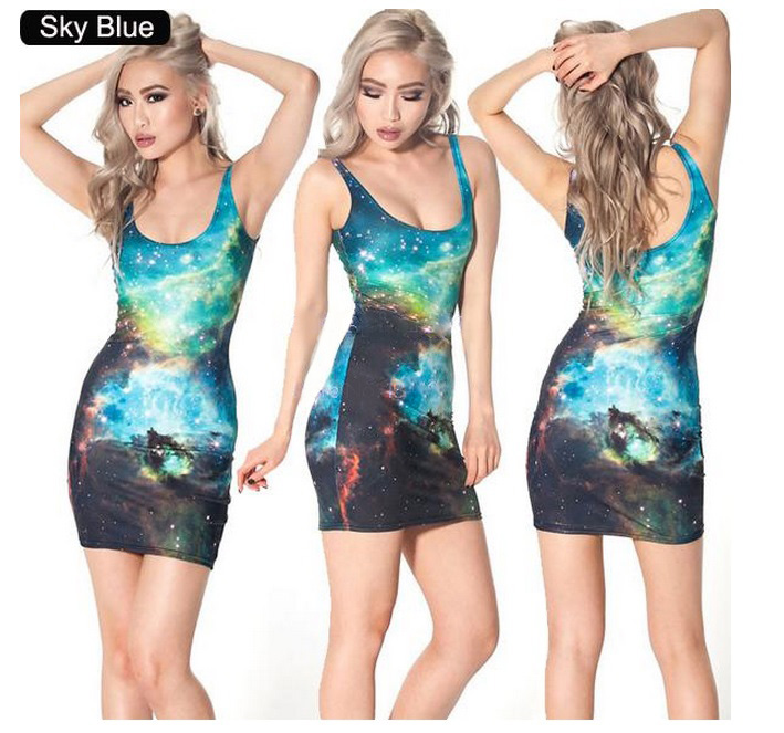 vestido mini estampas divertidas sky blue