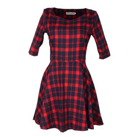 vestido xadrez vermelho com preto acinturado saia evase