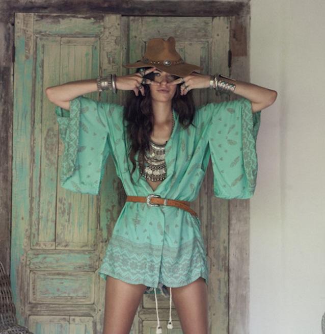 kimono blusa estampa étnica verde 3