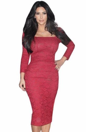 vestido lapis de renda decotado vermelho