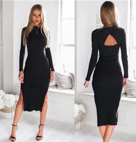 vestido midi costas nuas preto fendas
