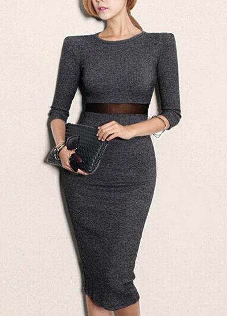 vestido office de manga lã cintura transparente