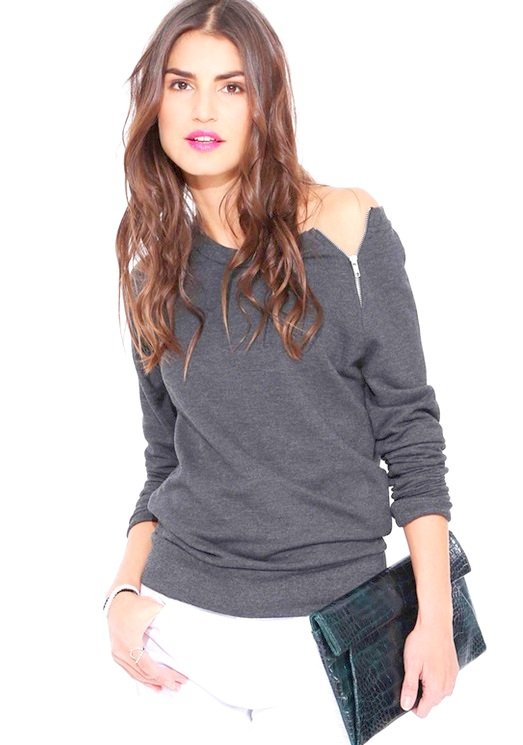 blusa de manga 3 4 com ziper no ombro cinza