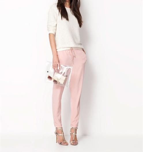 calça jogging larguinha rosa