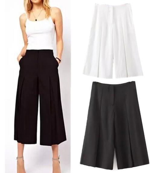 calças pantacourt preta branca