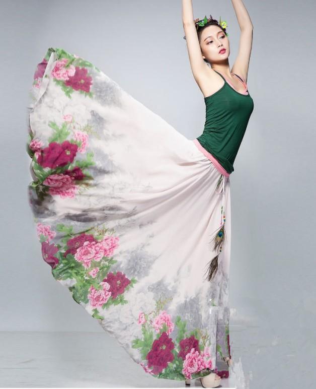 saia longa floral maxi