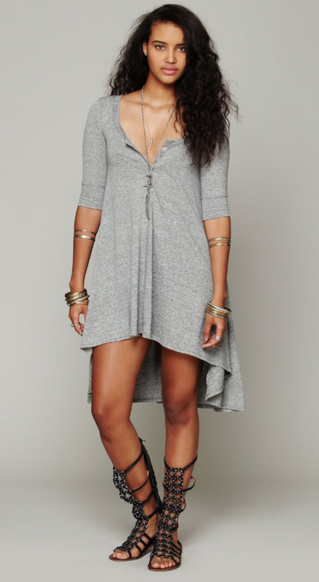 vestido blusao mescla claro assimetrico