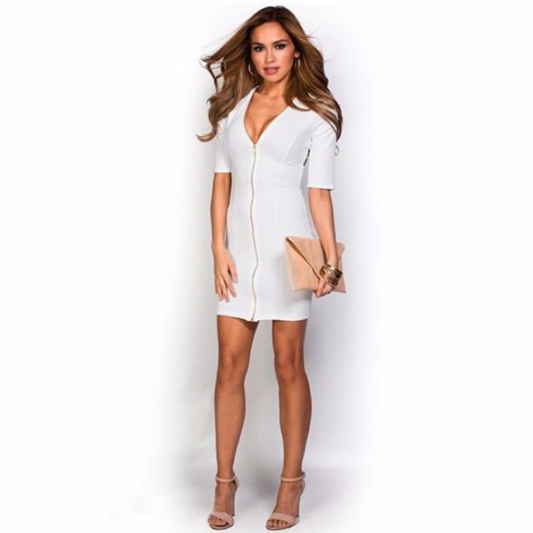 vestido branco de ziper decote profundo meia manga sexy - Copia