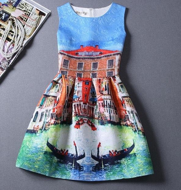 vestido de festa estampado veneza