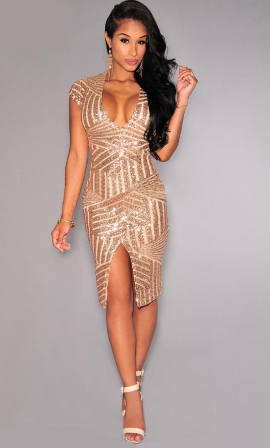 vestido de festa paetes dourado decote v fenda
