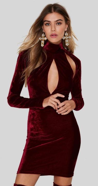 vestido fendas decote sexy de veludo vinho