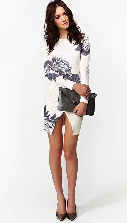 vestido floral branco assimetrico manga comprida 5