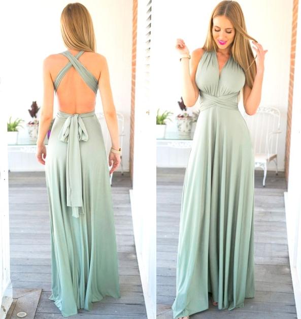 vestido longo de festa verde de amarrar