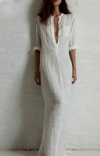 vestido longo minimalista estilo blusao branco