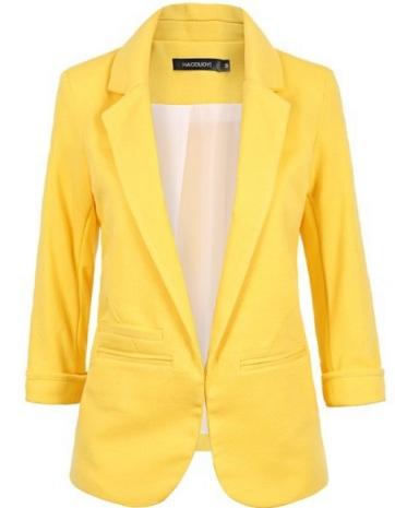 blazer amarelo sem botao alta qualidade