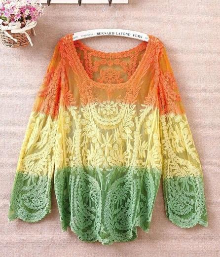 blusa de croche tie dye laranja verde