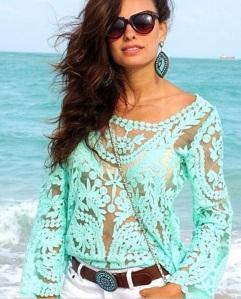 blusa de croche verde agua renda