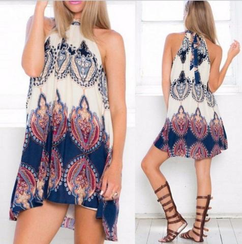 vestido estampado trapezio etnico tapecaria