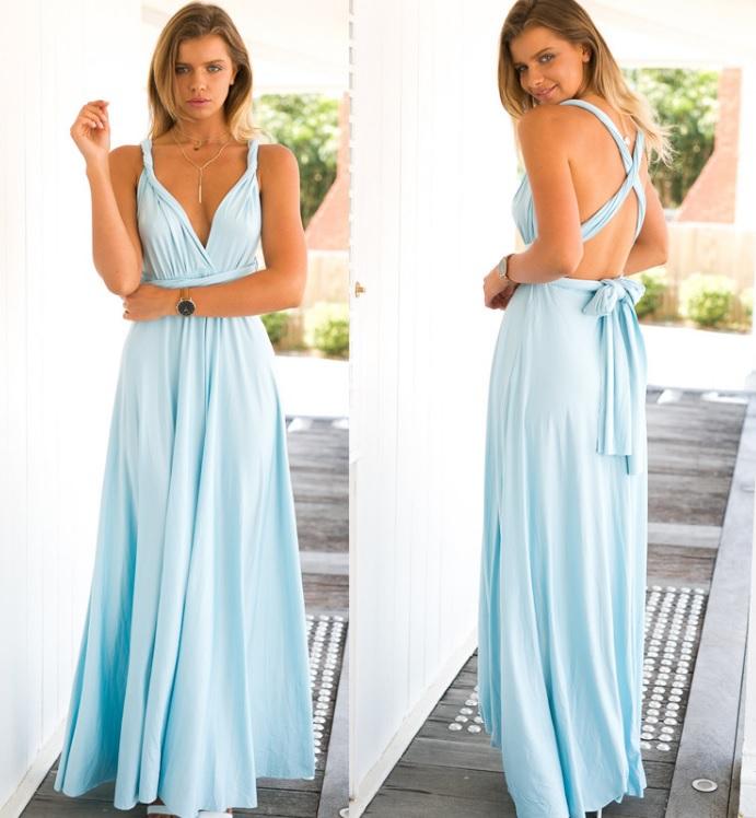 Vestidos de festa longo azul claro
