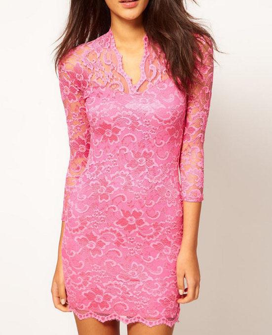 vestido-de-festa-de-renda-manga-comprida-rosa