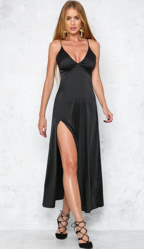 vestido-longo-de-festa-cetim-preto-decote-v-sexy-fenda